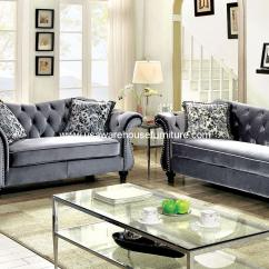 Gray Fabric Sofa Set Single Bed Chair Second Hand Tufted Acme 54145 Eulalia 2pcs Pollished Velvet