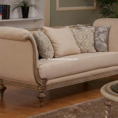 Contemporary Sofa With Wood Trim 3 Pcs Loveseat And Chair Set Milerige Usa Warehouse Furniture