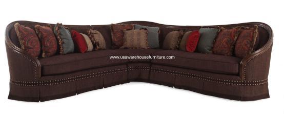 Gracious Wood Trim Luxury Sectional Sofa