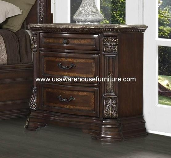 Antoinetta 3 Drawer Nightstand With Marble Top