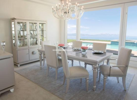 Michael Amini Glimmering Heights Extendable Dining Set