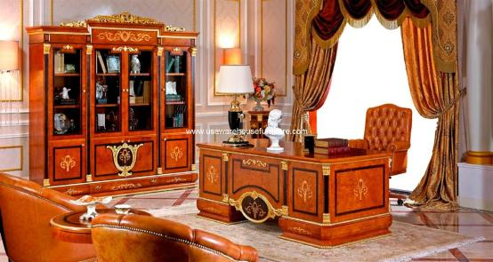 Empire European Executive Desk With 4-Door Bookcase Cabinet