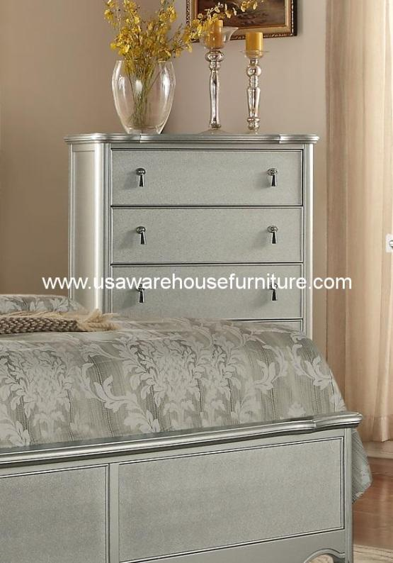 Toulouse 5 Drawer Chest Silver Finish