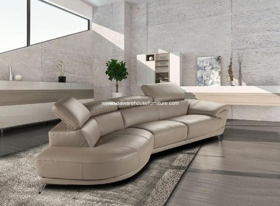 2 Piece Marisol Italian Taupe Leather Sectional