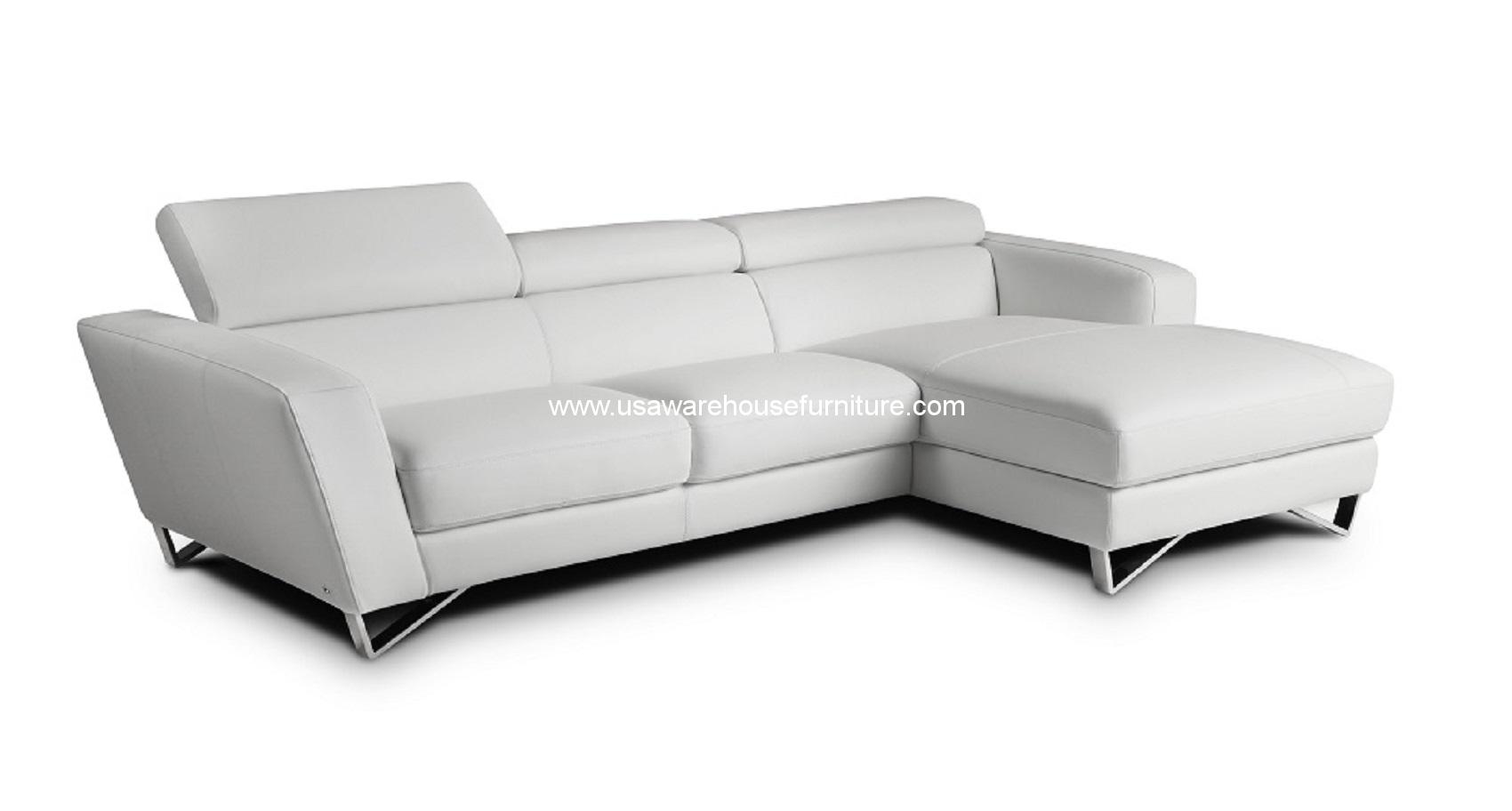 modern white italian leather sectional sofa alyssa home reversible with ottoman and chaise 2 piece sparta