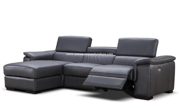 Leather Power Reclining Sectional Sofa