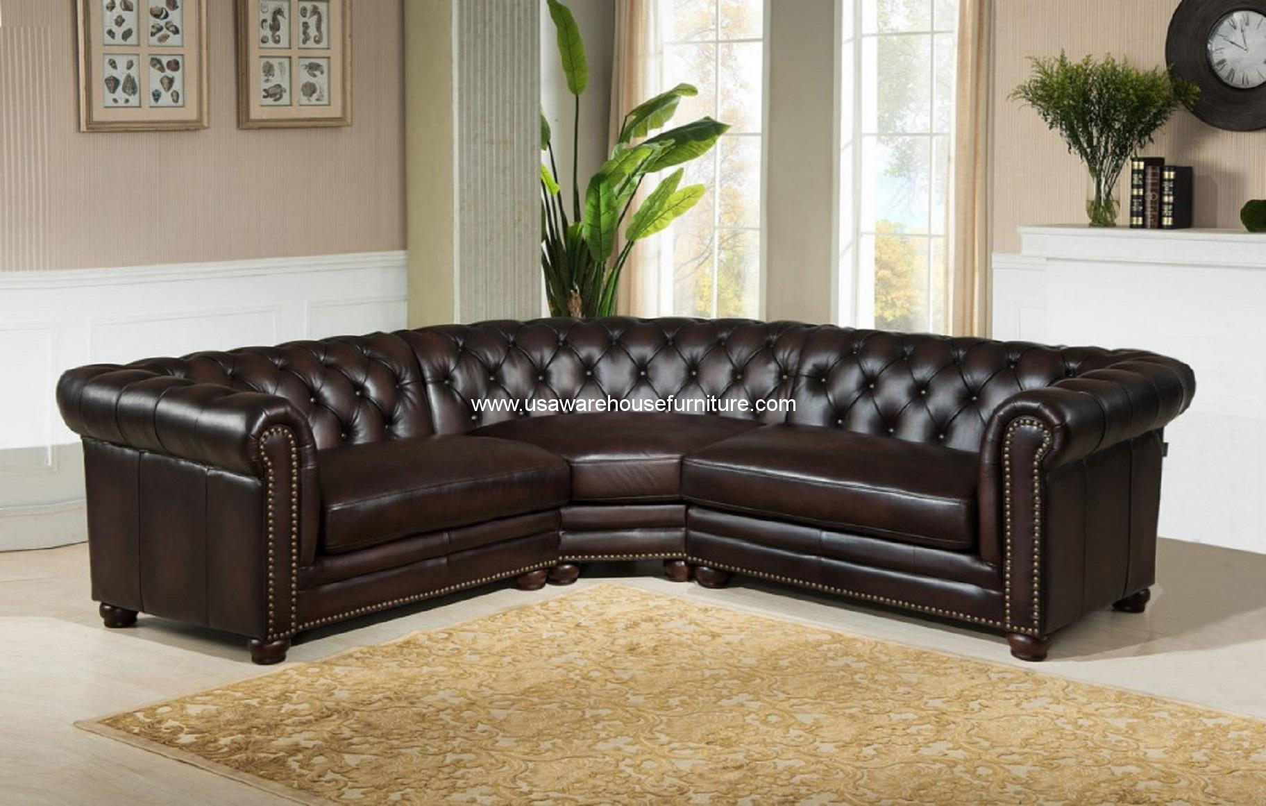 Fantastic 3 Piece Kennedy Dark Brown Tufted 100 Leather Sectional Set Ncnpc Chair Design For Home Ncnpcorg