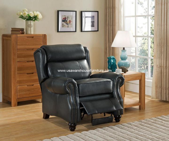 Ashton Genuine Gey 100% Leather Recliner