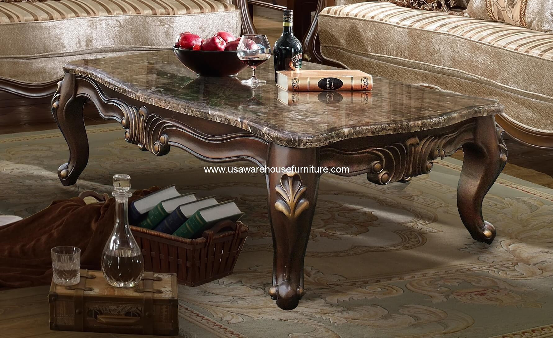 . Mcferran Furniture SF8700 Natalie Coffee Table Marble Top