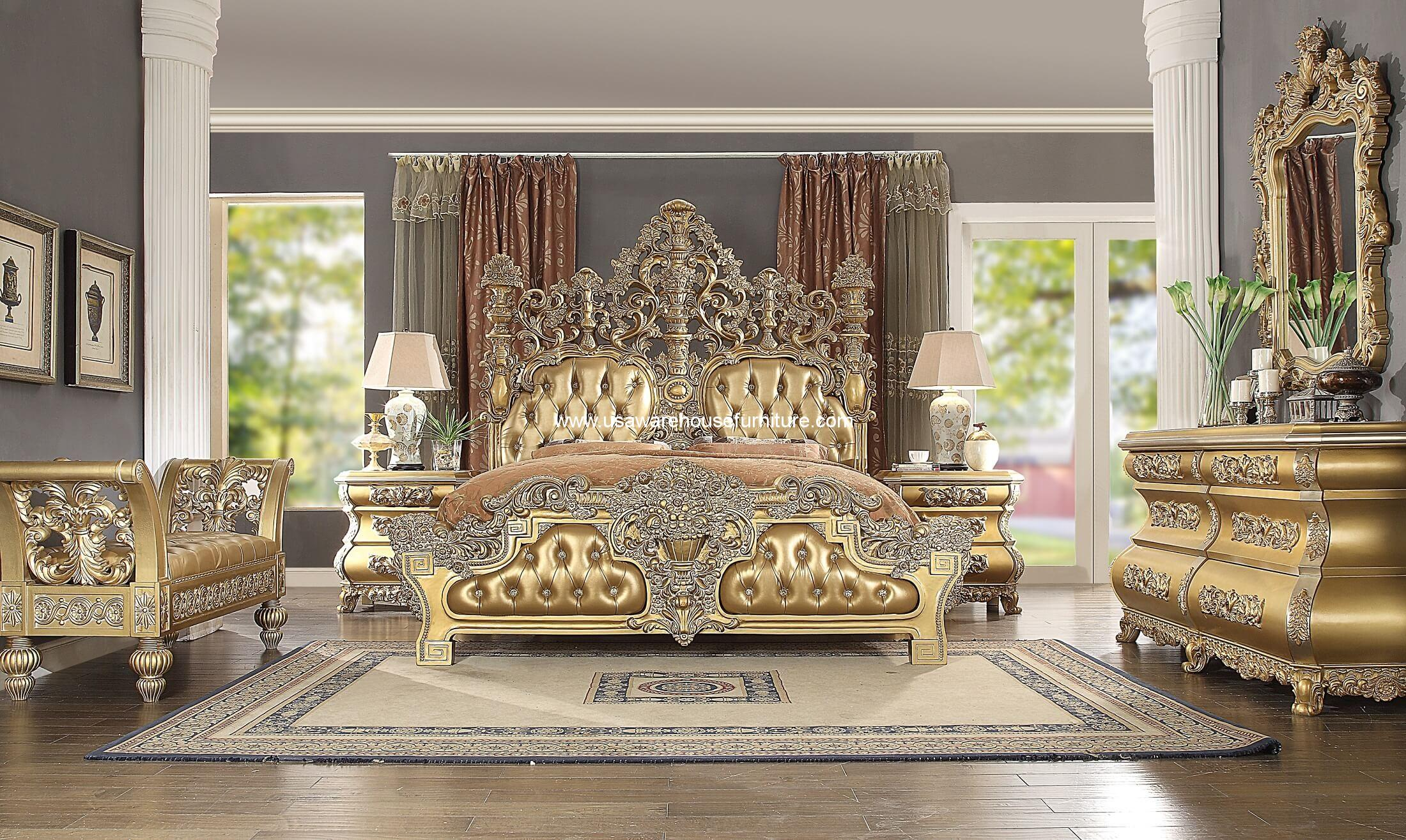 5 Piece HD-8016 Bellagio Bedroom Set Antique Gold Finish