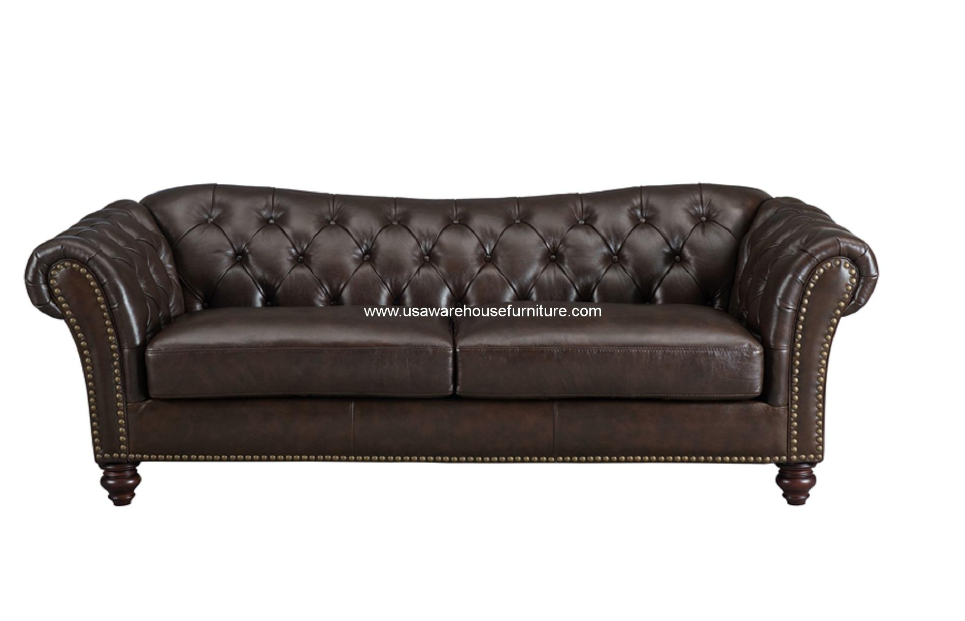 vine brown leather tufted sofa the best sectional sofas mona dark full top grain usa