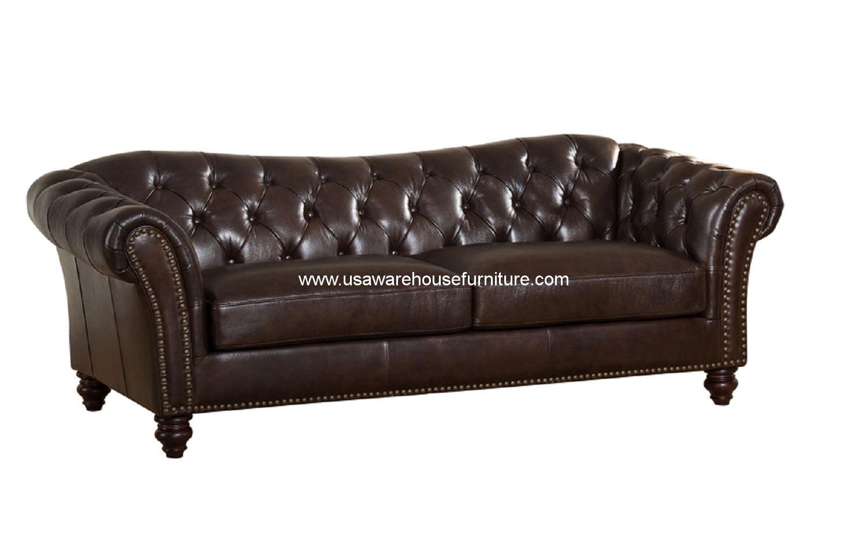 vine brown leather tufted sofa sofas for less mona dark full top grain usa