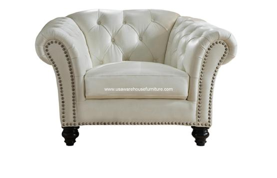 Mona Ivory White Tufted Leather Chair