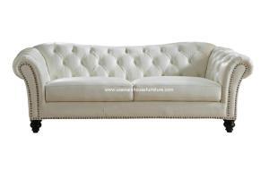 Mona Ivory White Full Top Grain Tufted Leather Sofa   USA ...