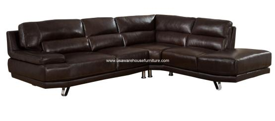 2 Piece Vivian Dark Brown Leather Sectional