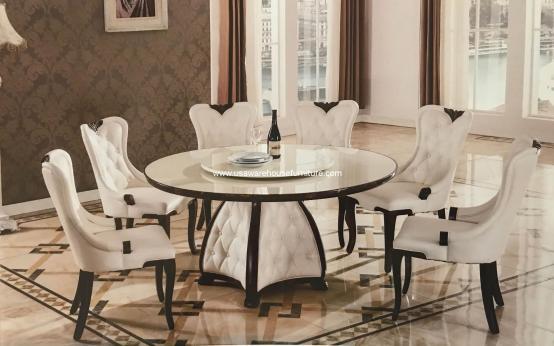 Mystra Marble Round Dining Set