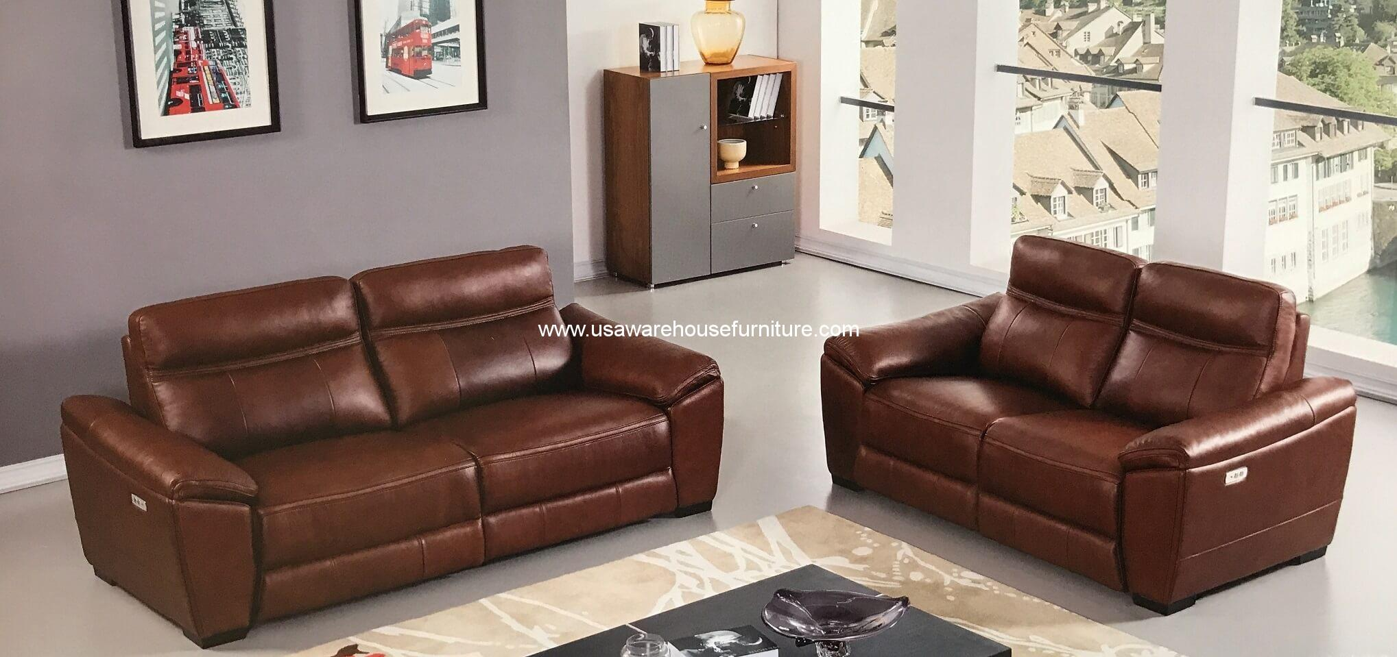2 piece brown leather sofa l shaped sectional forma full italian power recliner