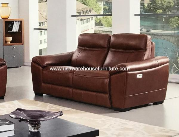 Forma Brown Full Italian Leather Power Recliner Loveseat