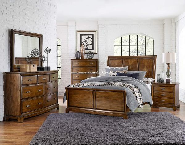 oak sleigh bedroom sets 4 Piece Terron Sleigh Bedroom Set Oak Finish - USA Warehouse Furniture