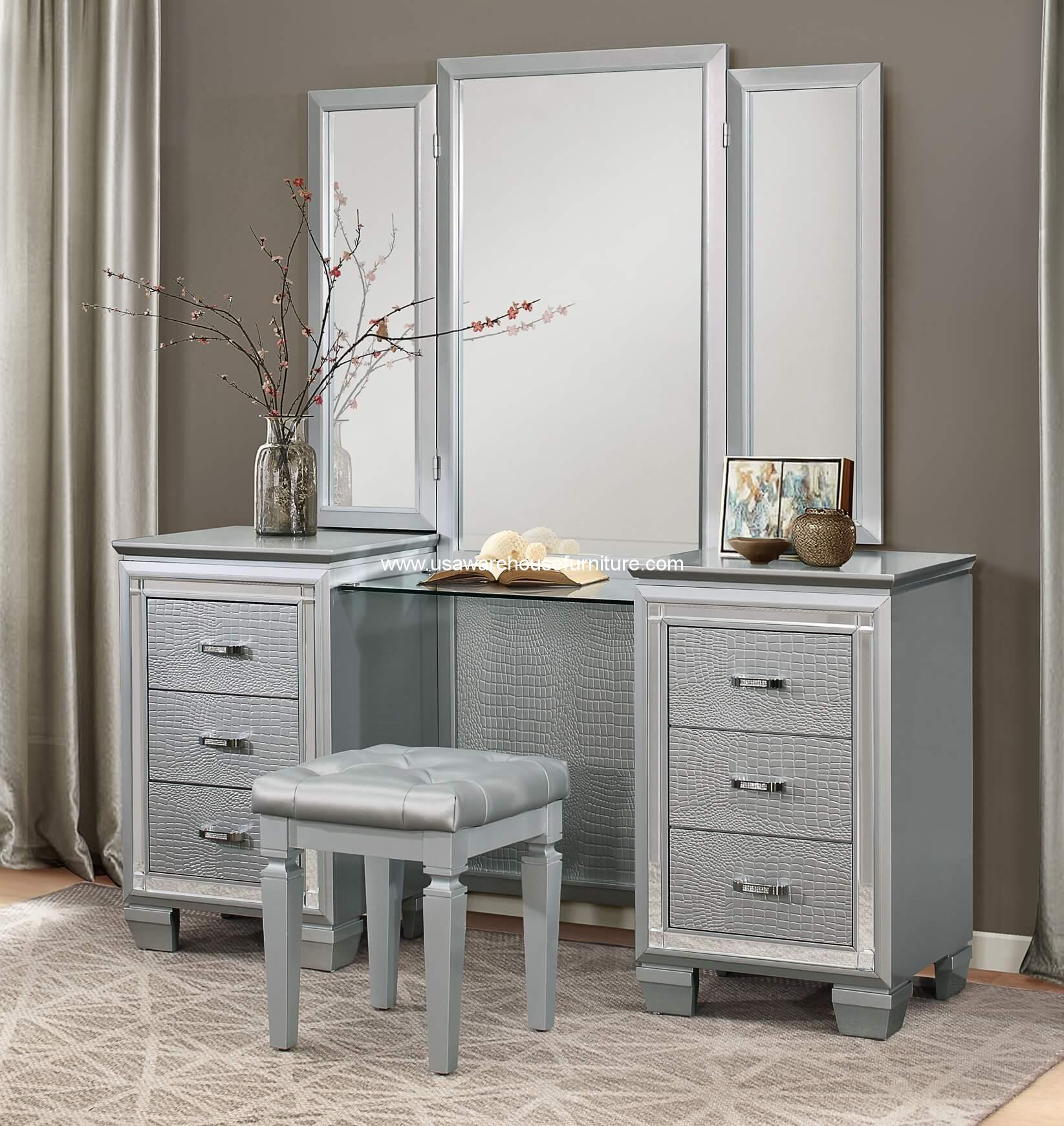 Allura Vanity Set With Mirror and Stool  USA Warehouse