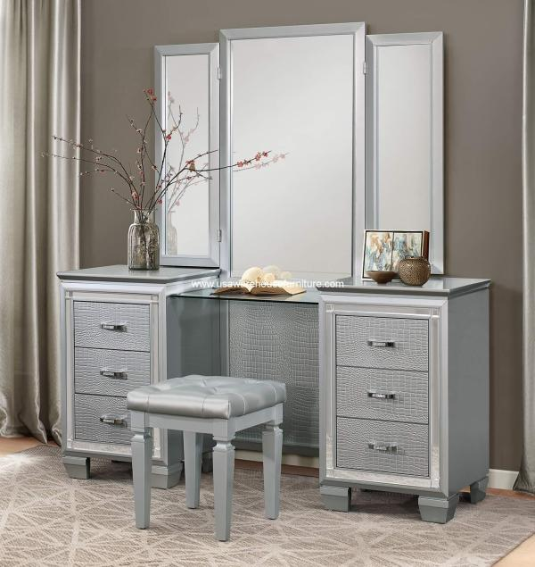 Allura Vanity Set With Mirror And Stool - Usa Warehouse