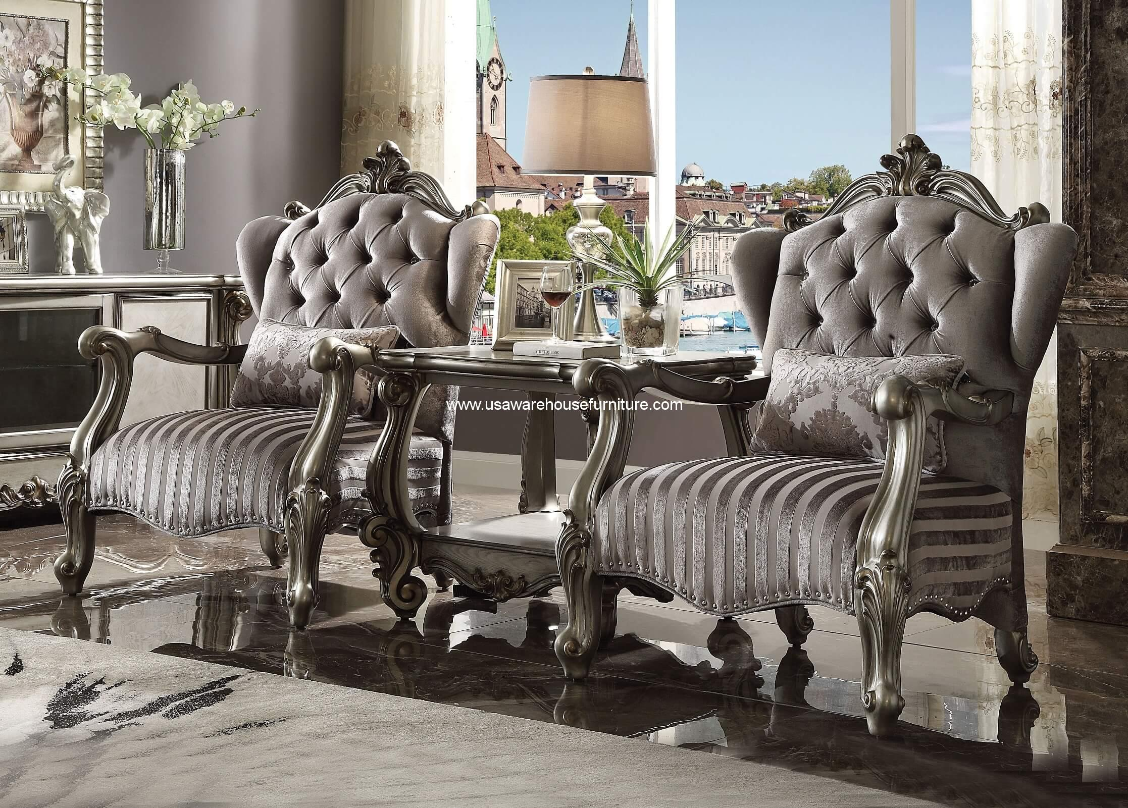 Astounding 3 Piece Versailles Antique Platinum Accent Chair End Table Home Interior And Landscaping Ponolsignezvosmurscom