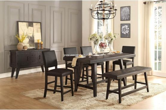 6 Pieces Fenwick Counter Height Rustic Dining Set