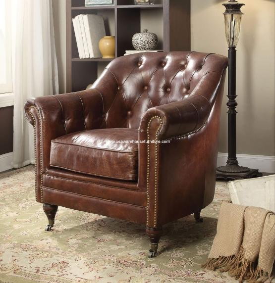 Aberdeen Vintage Brown Leather Chair