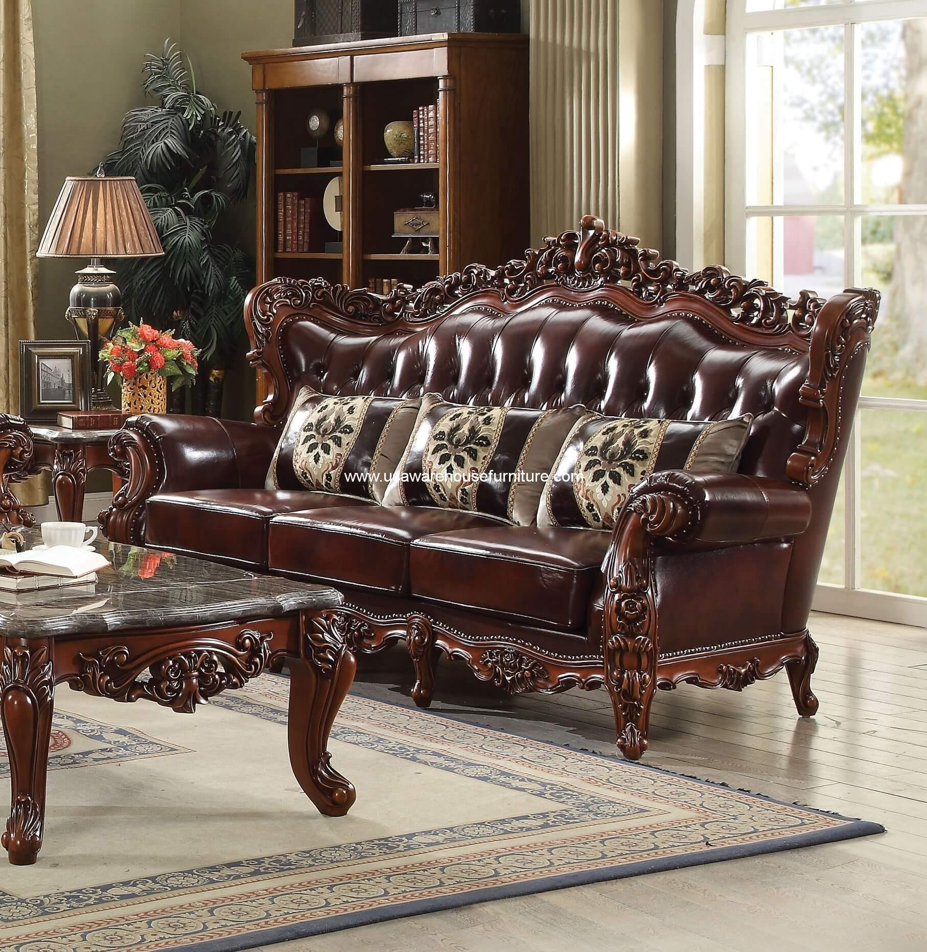 Eustoma Wood Trim Top Grain Leather Sofa 53065 Usa Warehouse Furniture