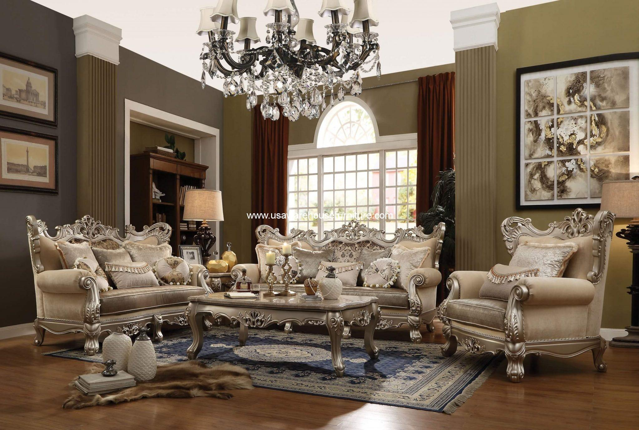 Ranita Wood Trim Living Room Set - USA Warehouse Furniture