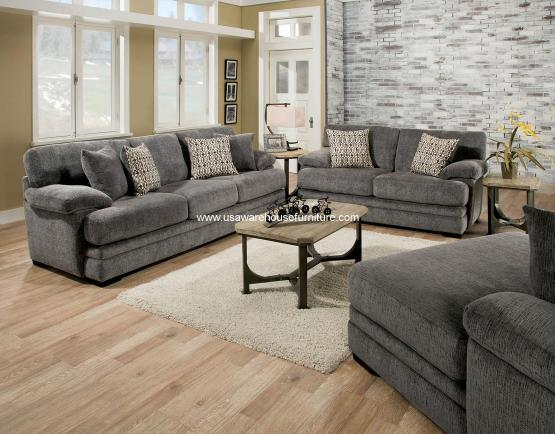 2 Piece Abrianna Gray Sofa Set