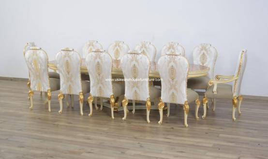 Bellagio Beige & Gold Leaf Dining Set