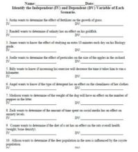 Independent and Dependent Variable Worksheet ...