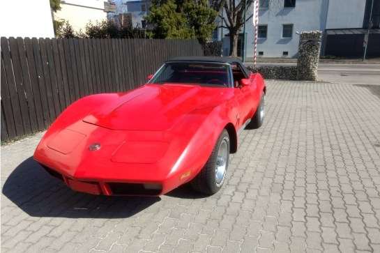 Chevrolet Corvette C3 convertible 5.7l V8 Bj. 1973 66,000 miles Red color 4 speed manual transmission Selling price: 26,800 € Good condition, well maintained.
