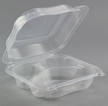 genpak clx203 cl clover large hinged lid plastic carryout container 3 compartment polypropylene 8 35 x 8 32 x 2 88 clear 150 case