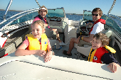 Adult male and female wearing inflatable life jackets and a boy and girl in children's life jackets sitting in a motorboat.