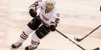 Robby Jackson (SCSU-23) 2018 Jan. 12 The St.Cloud State University Huskies host Western Michigan in a NCHC matchup at the Herb Brooks National Hockey Center in St. Cloud, MN (Bradley K. Olson)