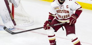 Casey Fitzgerald (BC - 5) - The Boston College Eagles tied the visiting University of New Hampshire Wildcats 2-2 on Friday, November 16, 2018, at Kelley Rink in Conte Forum in Chestnut Hill, Massachusetts. (Melissa Wade)