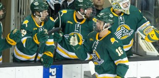 Nicolas Erb-Ekholm (Alaska Anchorage-16) 2018 November 17 The University of North Dakota hosts Western Michigan in a NCHC matchup at the Ralph Engelstad Arena in Grand Forks, ND (Bradley K. Olson)