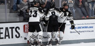 PROVIDENCE, RI - NOVEMBER 10: UMass visits Providence College during NCAA hockey at the Schneider Arena on November 10, 2018 in Providence, Rhode Island. (Photo by Rich Gagnon) (Rich Gagnon)