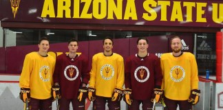 The Arizona State senior class of 2019 is comprised of (left to right) Anthony Croston, Jack Rowe, Dylan Hollman, Jake Clifford and Jakob Stridsberg (photo: Greg Cameron)
