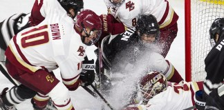 The Boston College Eagles defeated the visiting Providence College Friars 4-2 (EN) on Friday, January 11, 2019, at Kelley Rink in Conte Forum in Chestnut Hill, Massachusetts. (Melissa Wade)