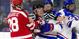 LOWELL, MA - MARCH 15: NCAA hockey during the Hockey East quarter finals at the Tsongas Center between the Boston University Terriers and the UMass-Lowell River Hawks on March 15, 2019 in Lowell, Massachusetts. (Photo by Rich Gagnon) (Rich Gagnon)