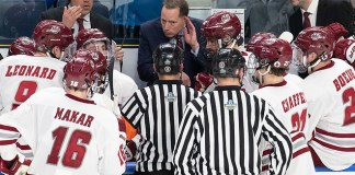 11 Apr 19: The University of Massachusetts Minutemen play against the Denver University Pioneer in a national semifinal of the 2019 NCAA Division I Men