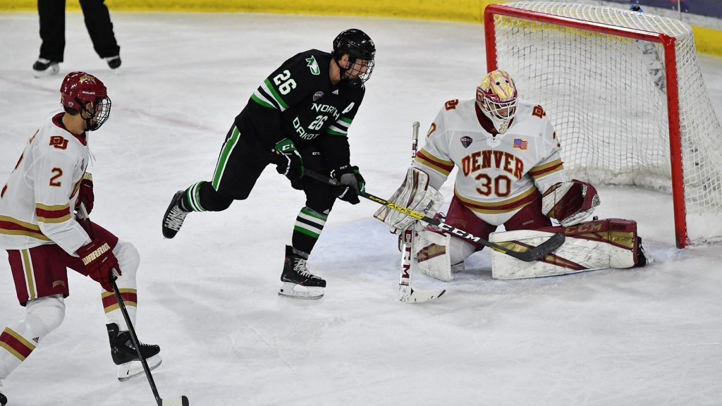 SATURDAY ROUNDUP: No. 9 North Dakota stymies No. 2 Denver in key NCHC matchup Saturday night
