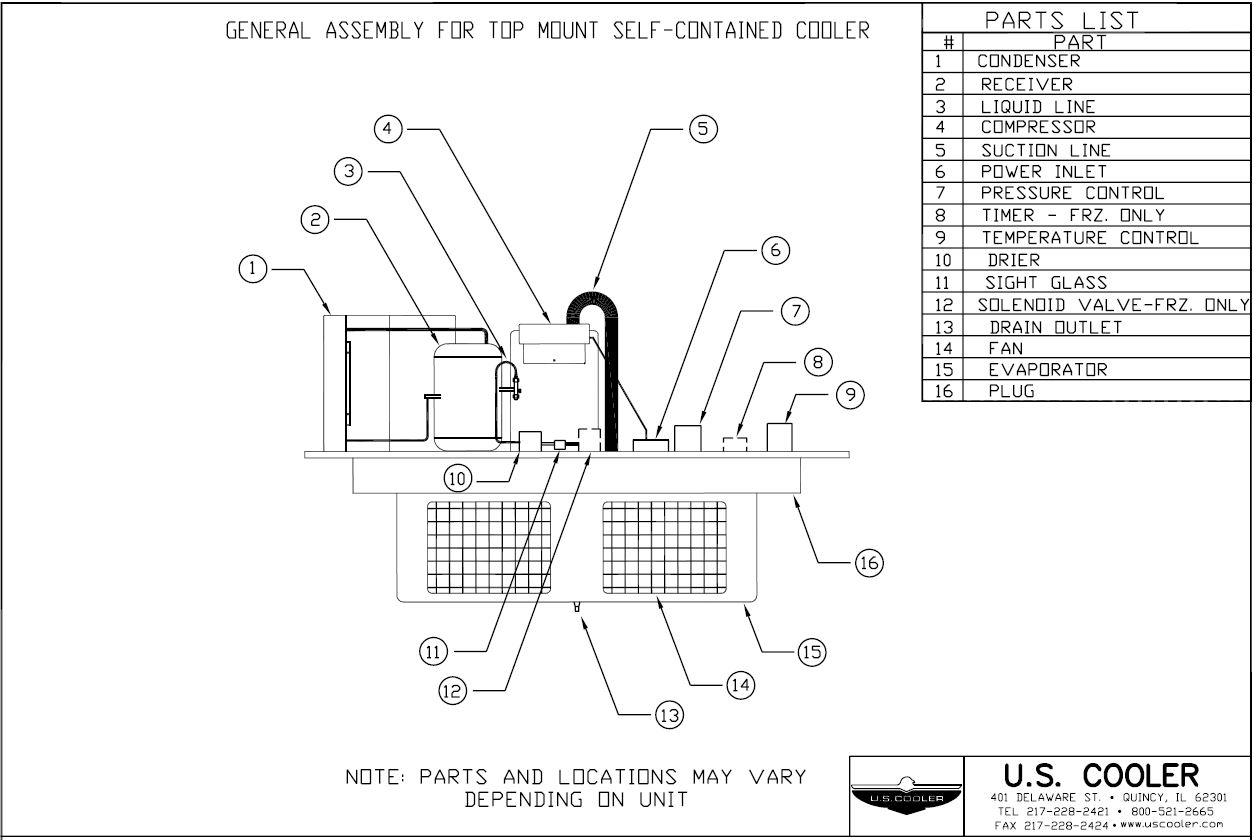 General Assembly For Top Mount Self Contained Cooler U S