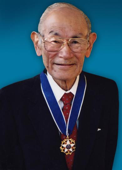 Fred Korematsu, with the Presidential Medal of Freedom.