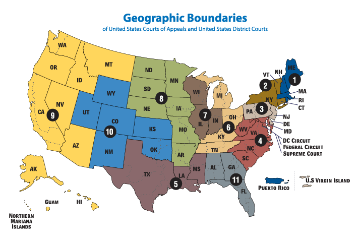 U.S. Federal Court Circuit Map