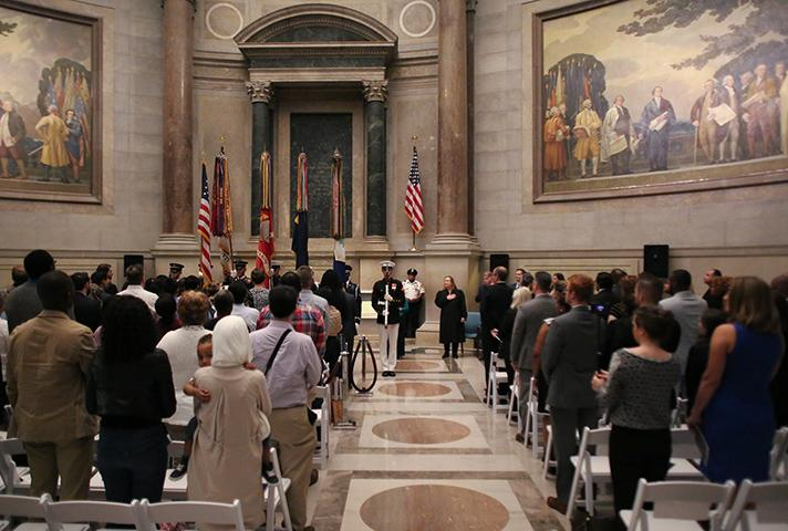 Naturalization ceremony at the National Archives in Washington, D.C.