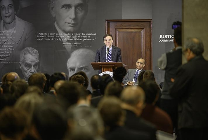 U.S. Court of Appeals Judge Robert A. Katzmann speaks at the 2018 opening of the Justice for All: Courts and the Community Learning Center at the Thurgood Marshall U.S. Courthouse.